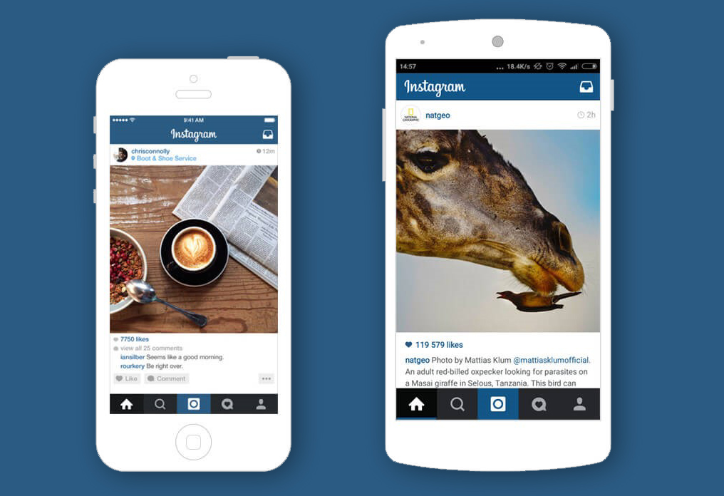 Instagram UI on mobile devices